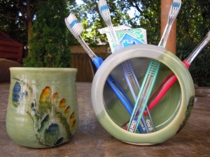 Toothbrush Holder and Matching Cup